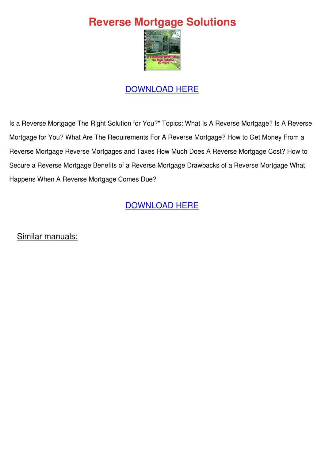 Reverse Mort... Reverse Mortgage Solutions