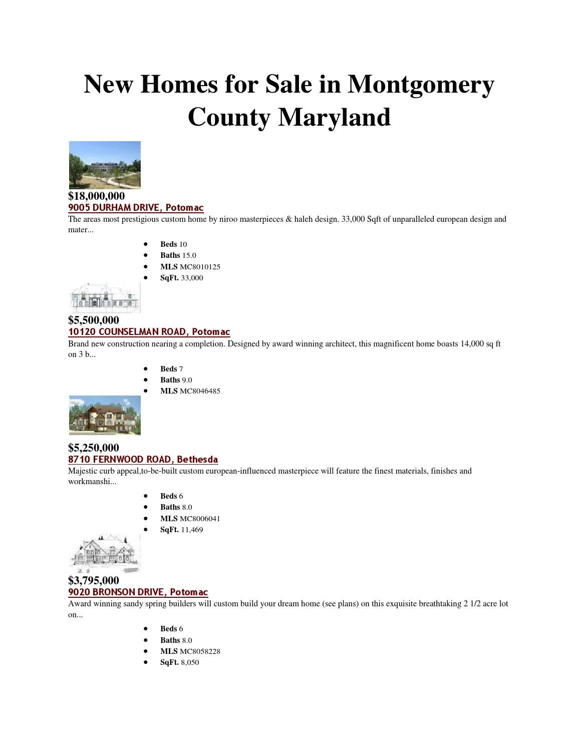 new homes for sale in montgomery county maryland by