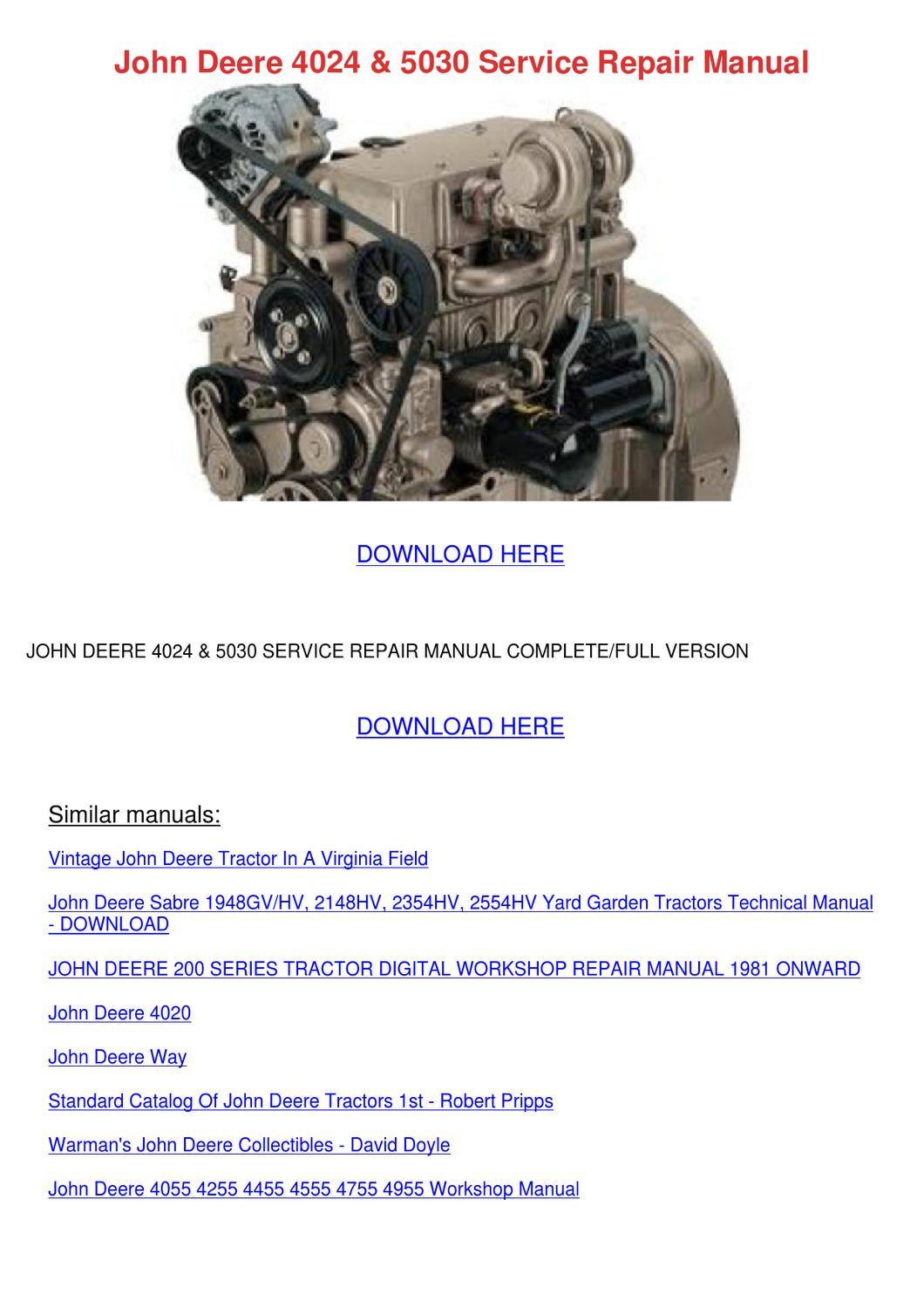 John Deere 4024 Engine Manual
