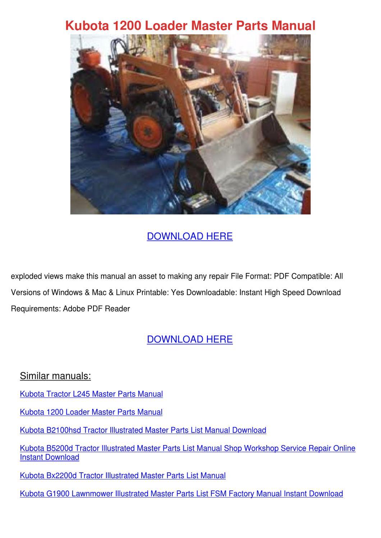 kubota 1200 loader master parts manual by unarobison issuu Kubota L3940 Schematic Kubota L3940 Schematic