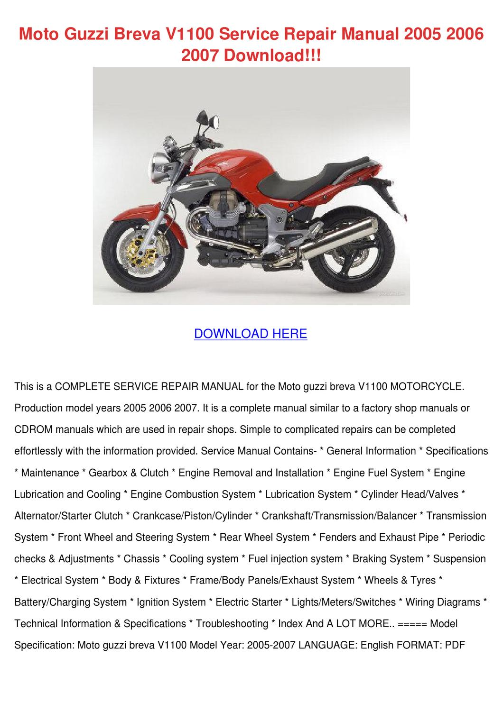 moto guzzi breva v1100 service repair manual by. Black Bedroom Furniture Sets. Home Design Ideas