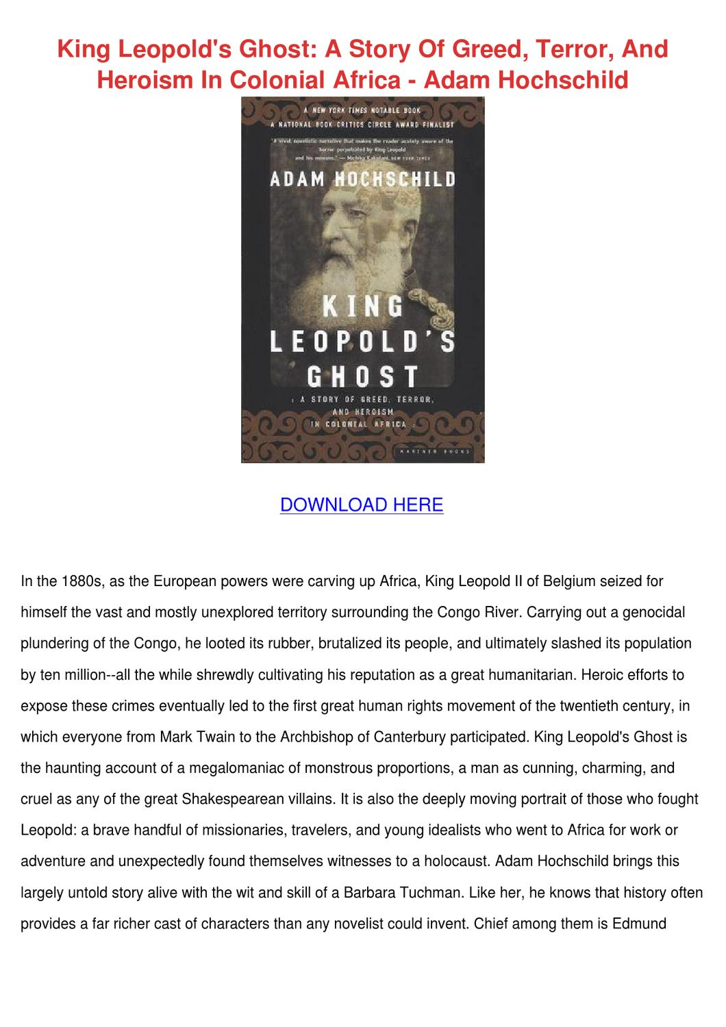 King Leopolds Ghost A Story Of Greed Terror A by