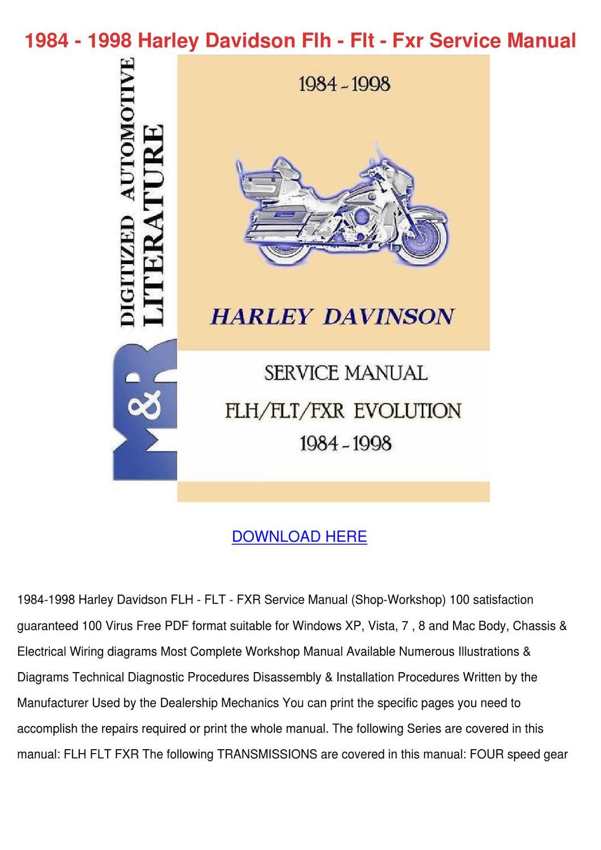 1984 1998 Harley Davidson Flh Flt Fxr Service By