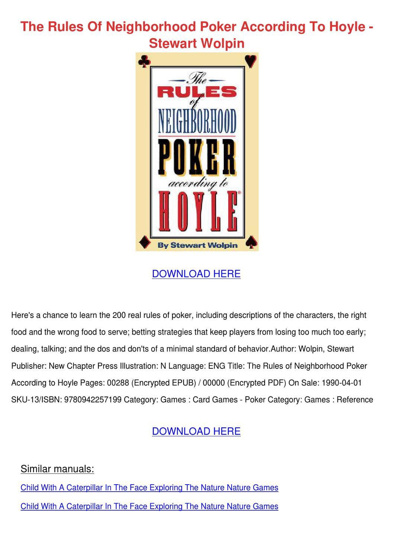 Home poker rules pdf