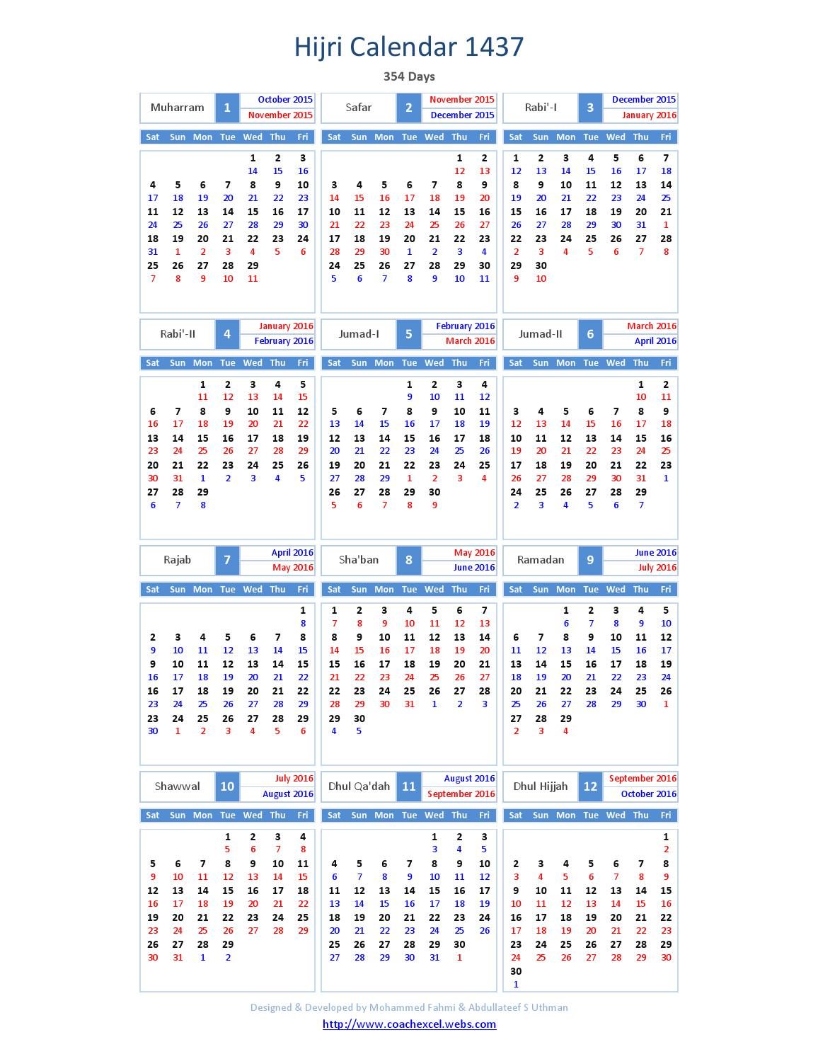 Hijri calendar 1437 by INTERNATIONAL MOON CALENDAR - issuu