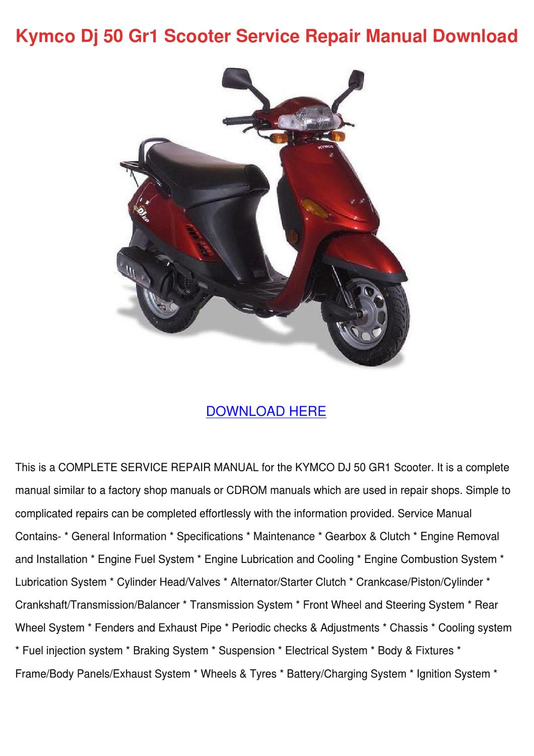 kymco dj 50 gr1 scooter service repair manual by. Black Bedroom Furniture Sets. Home Design Ideas