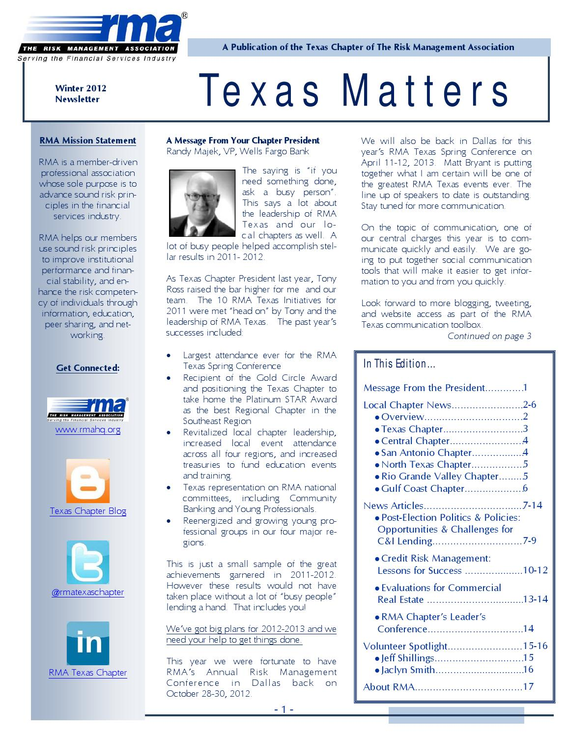 Rma Texas Chapter Winter 2012 Newsletter By Rma Texas