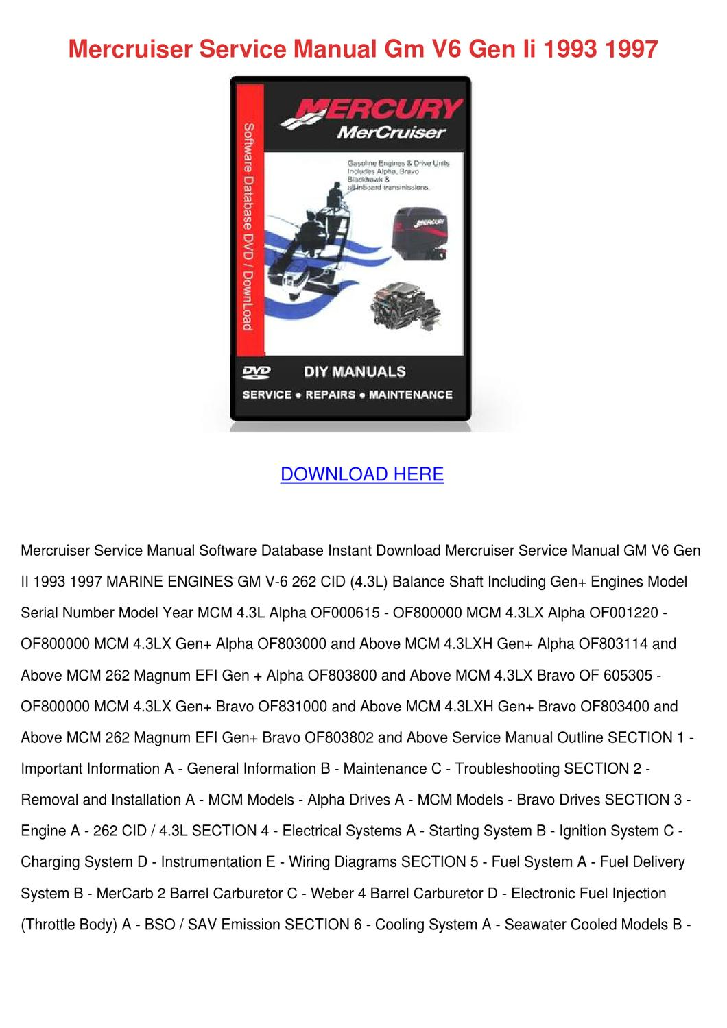 mercruiser service manual gm v6 gen ii 1993 1 by juliusheim issuu