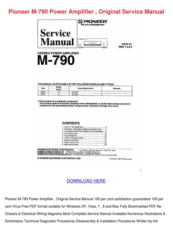 Pioneer M 790 Power Amplifier Original Servic By Doncohn