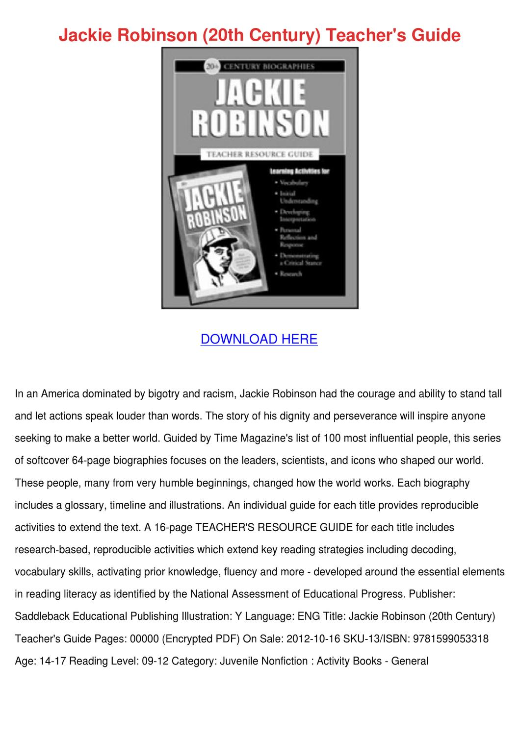 Jackie Robinson 20th Century Teachers Guide By