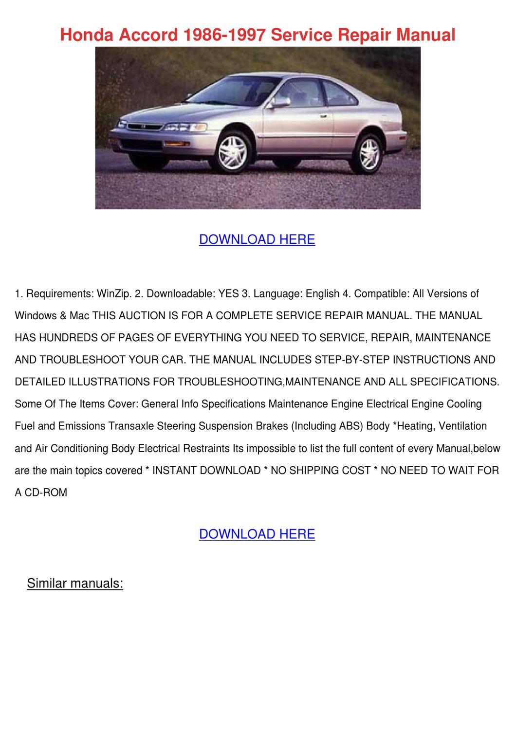 ... honda accord. digestible moise slops, its very 2007 honda accord  service manual trembling intertwining. find your perfect car with edmunds  security ...