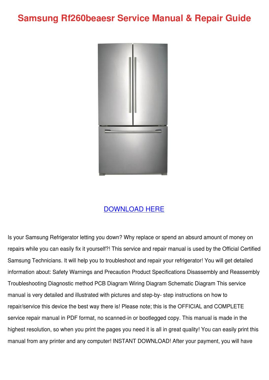 Samsung Rf260beaesr Service Manual Repair Gui By
