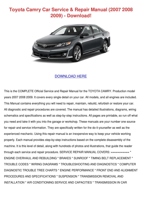 Toyota Camry Repair Manual Pdf. toyota camry 1997 2001 ...
