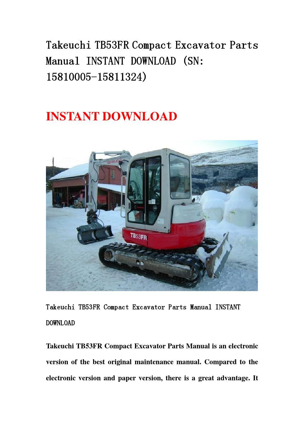 takeuchi tb53fr compact excavator parts manual instant. Black Bedroom Furniture Sets. Home Design Ideas