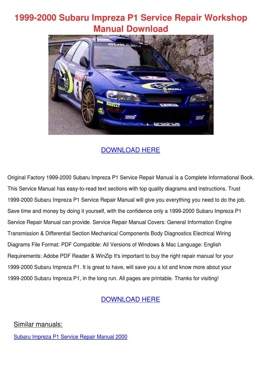 subaru impreza repair manual pdf