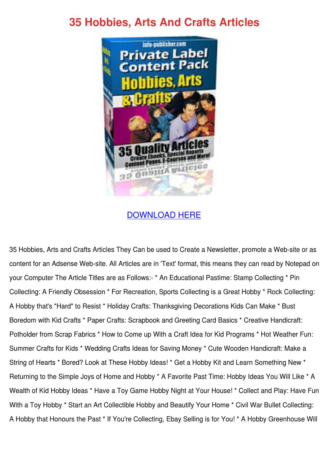 35 hobbies arts and crafts articles by ulyssessosa issuu for Crafts and hobbies ideas