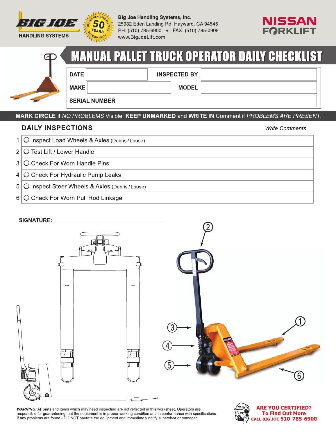 Electric Hydraulic Pump >> Manual Pallet Jack Operator Checklist by bigjoelift (page 1) - issuu