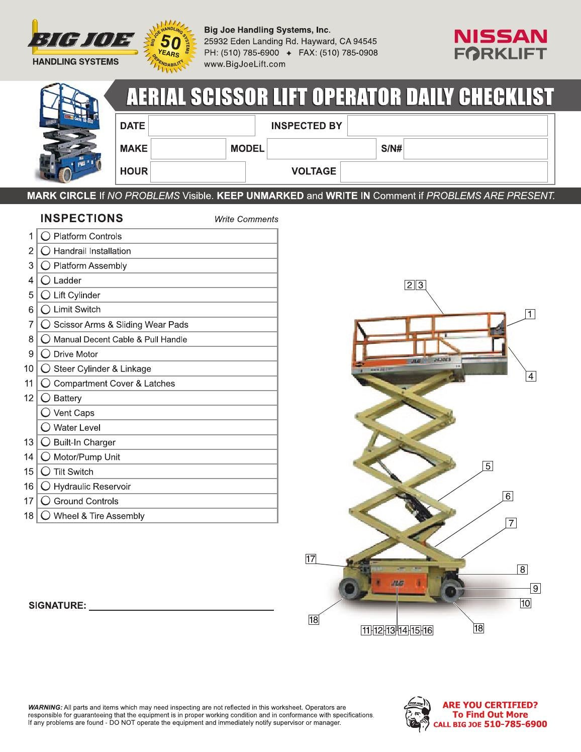 Aerial Scissor Lift Operator Daily Checklist By
