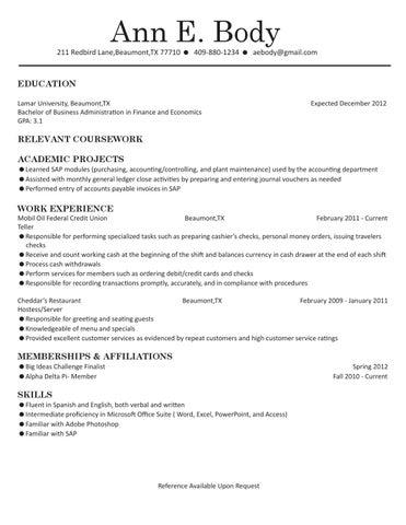 Finance Economics Resume By Lamar University Dept Of
