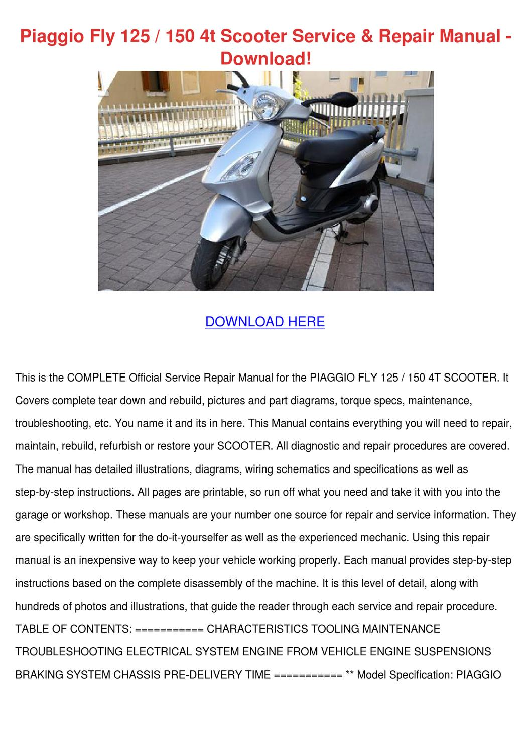 Piaggio Fly 125 150 4t Scooter Service Repair By Byronbecnel