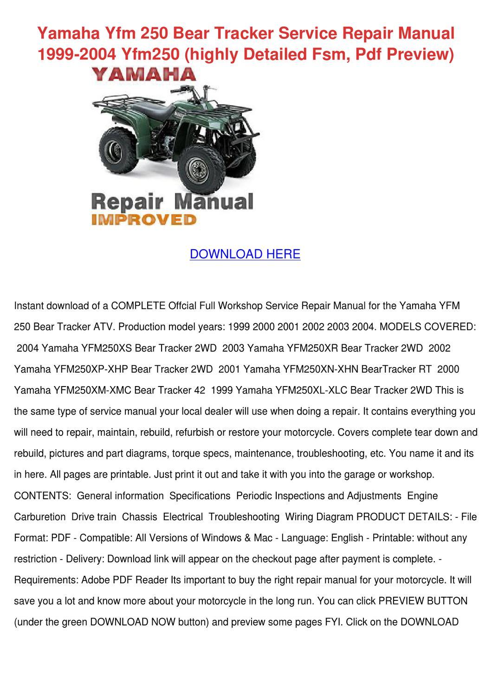 2001 yamaha bear tracker repair manual