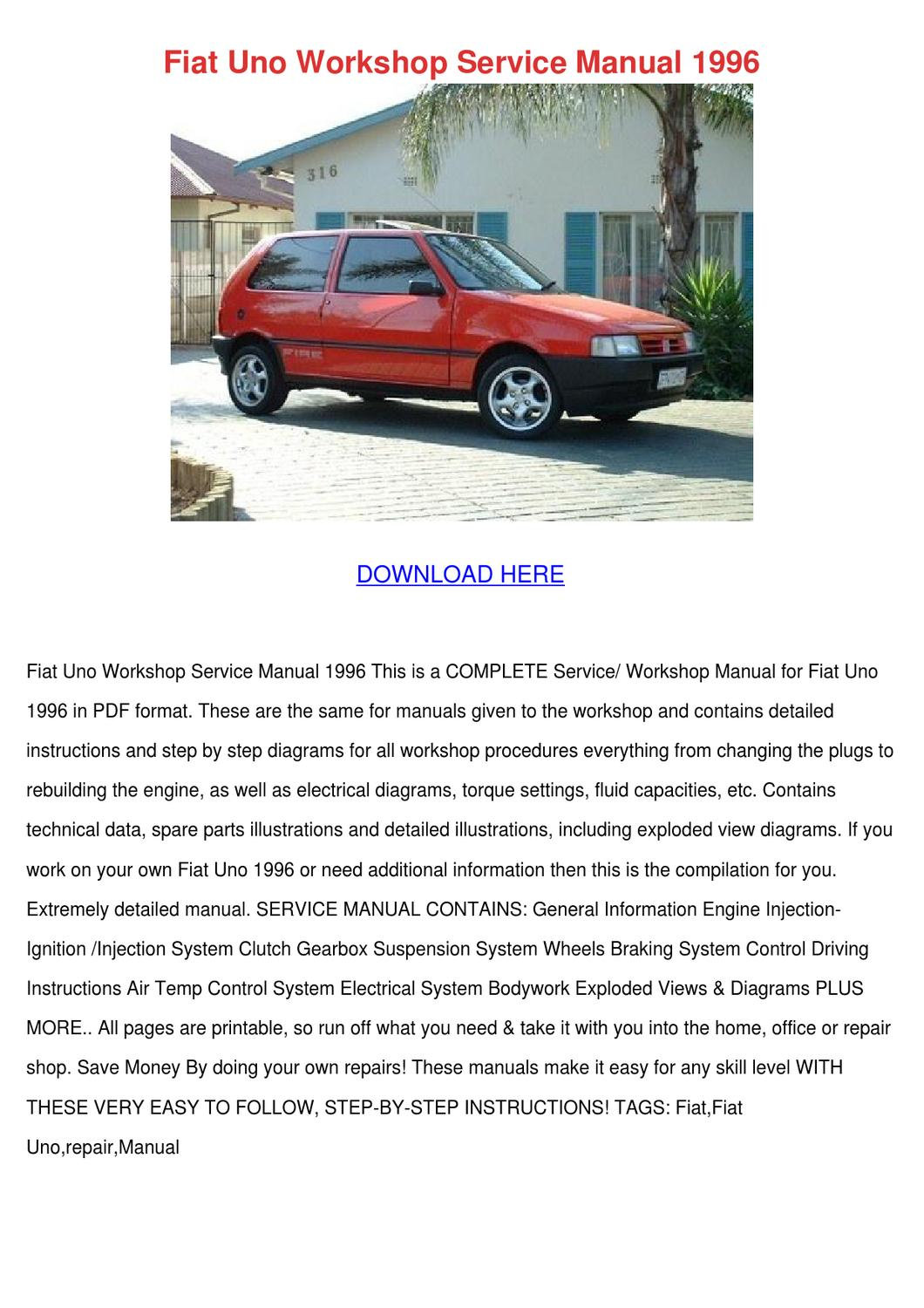 Fiat Uno Pdf Service Repair Workshop Manual