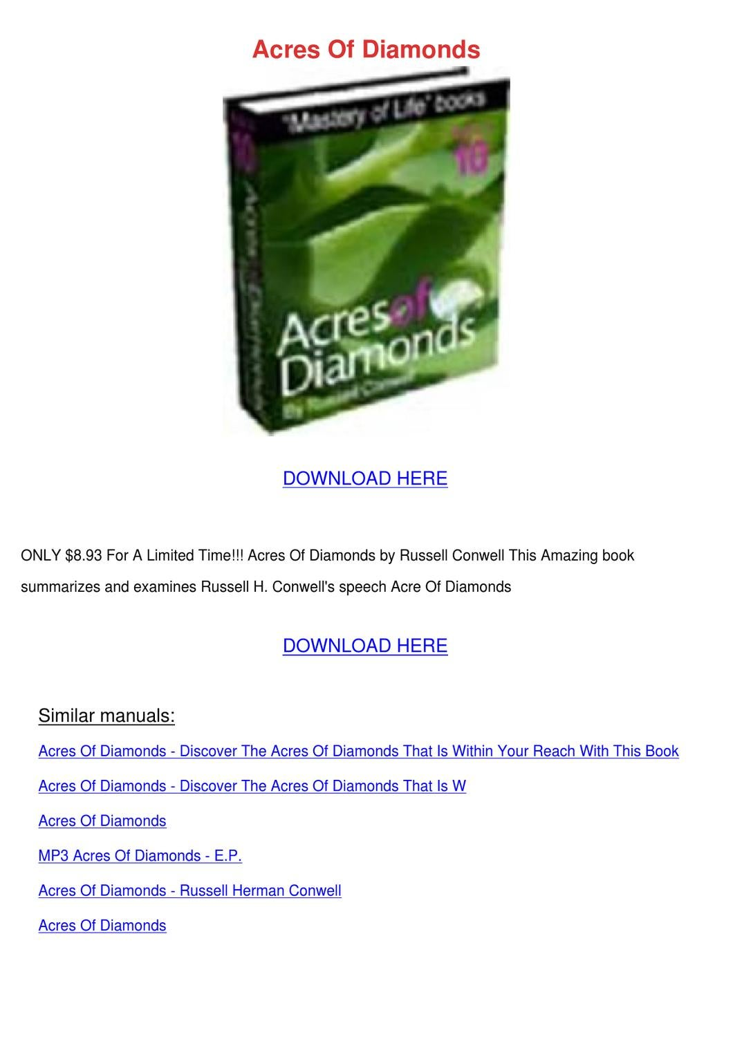 acres of diamonds summary pdf