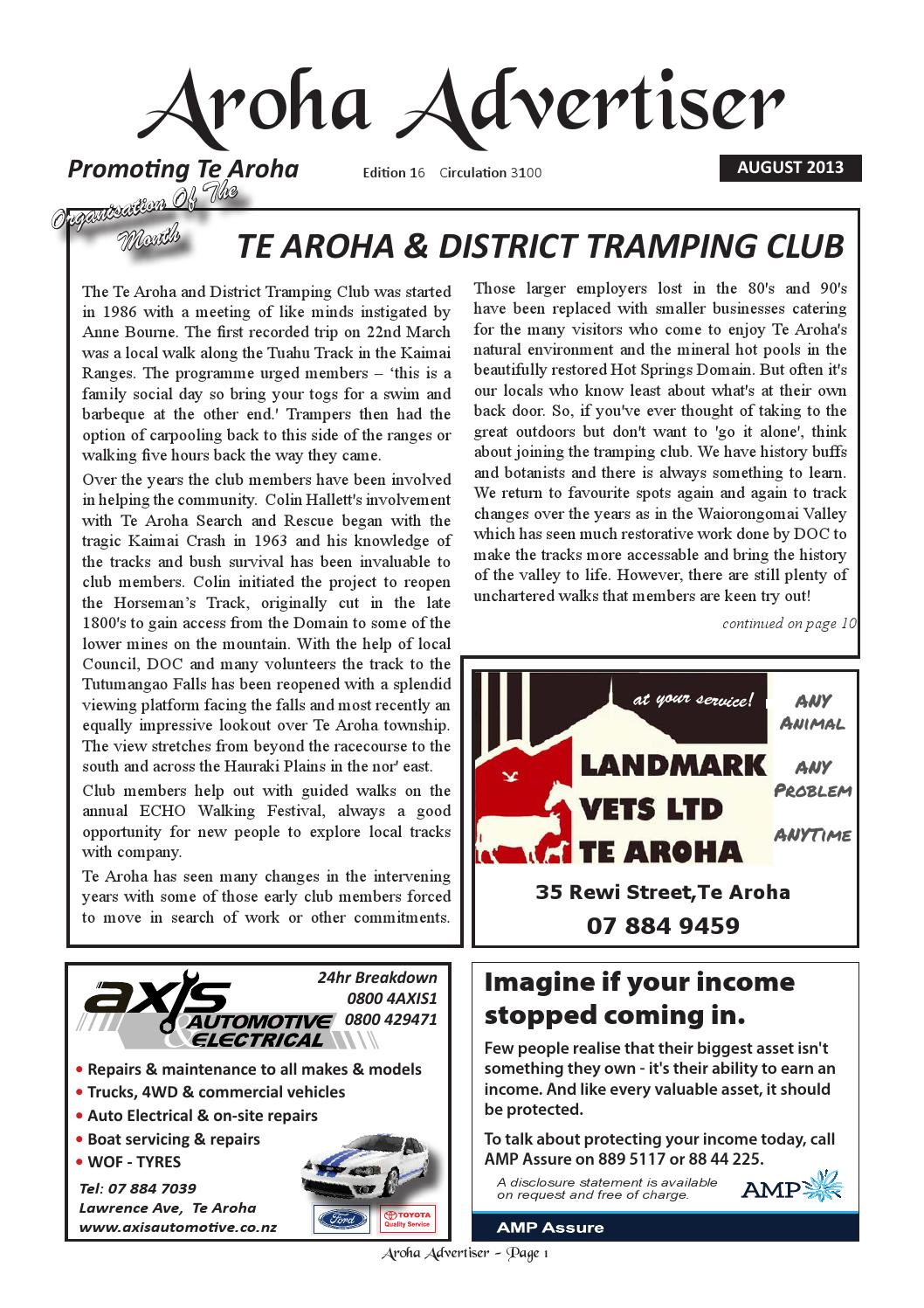 Te aroha advertiser august 2013 by steven gregg issuu for Aroha new zealand cuisine menu