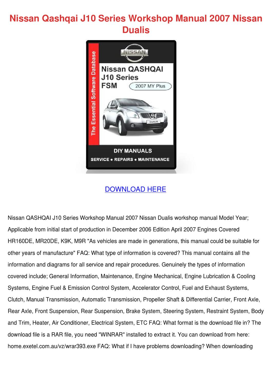 Nissan Qashqai J10 Series Workshop Manual 200 By Tawannaslattery2