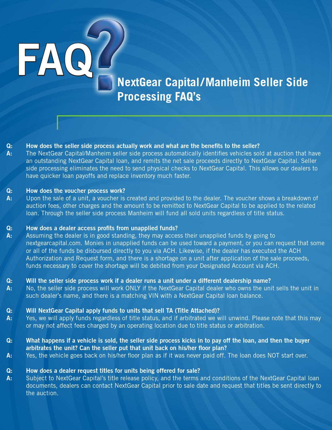 Seller side processing faq sheet by nextgear capital issuu for Manheim floor plan