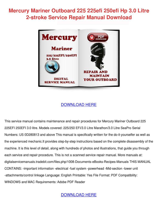 mercury mariner outboard 225 225efi 250efi hp by