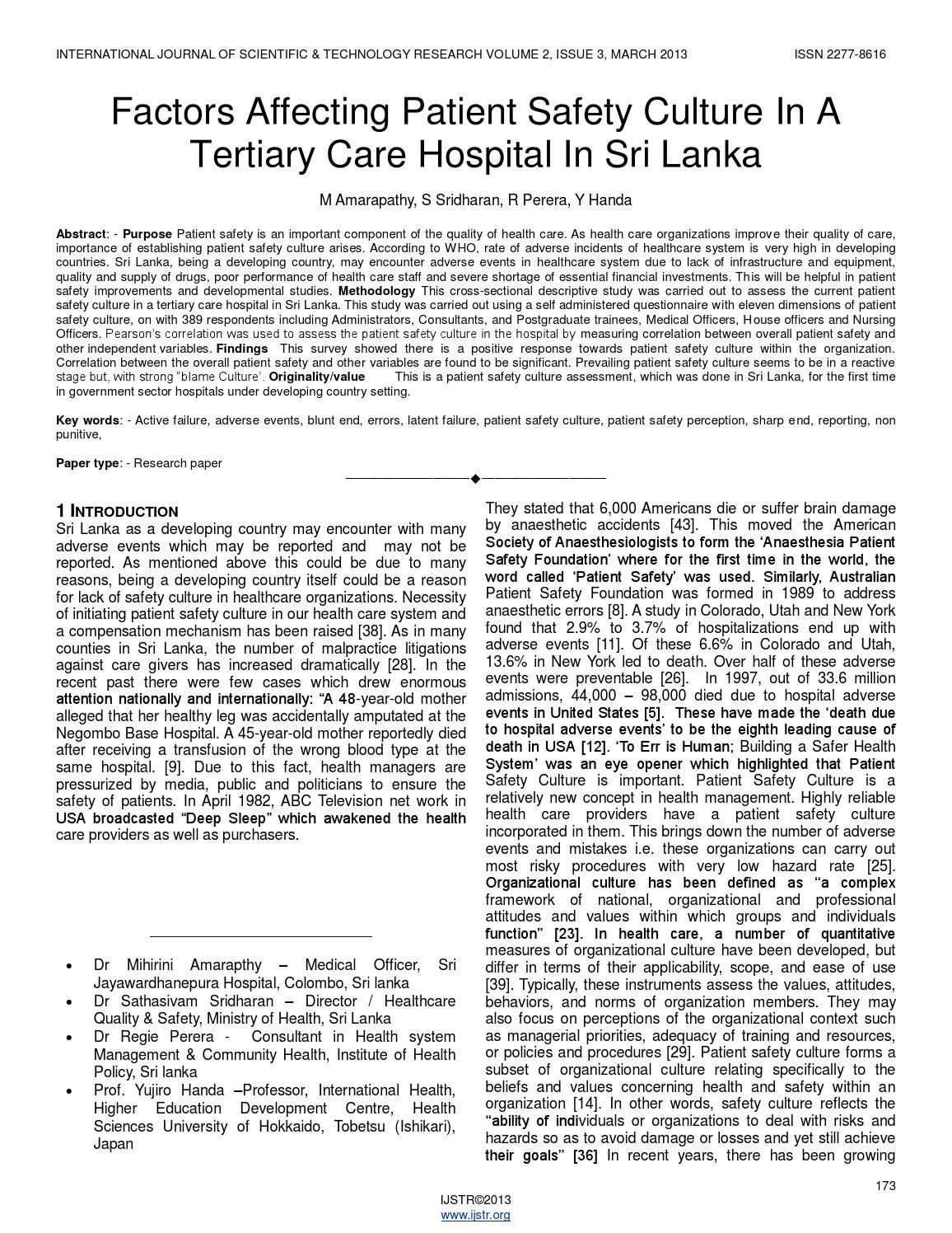 nursing administration tertiary care hospital A survey in an academic tertiary care hospital  in the case of physicians and  nurses, this was done during clinical and management meetings to cover staff  that.