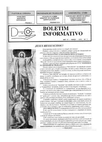[Bio Diocesano Março 1991]