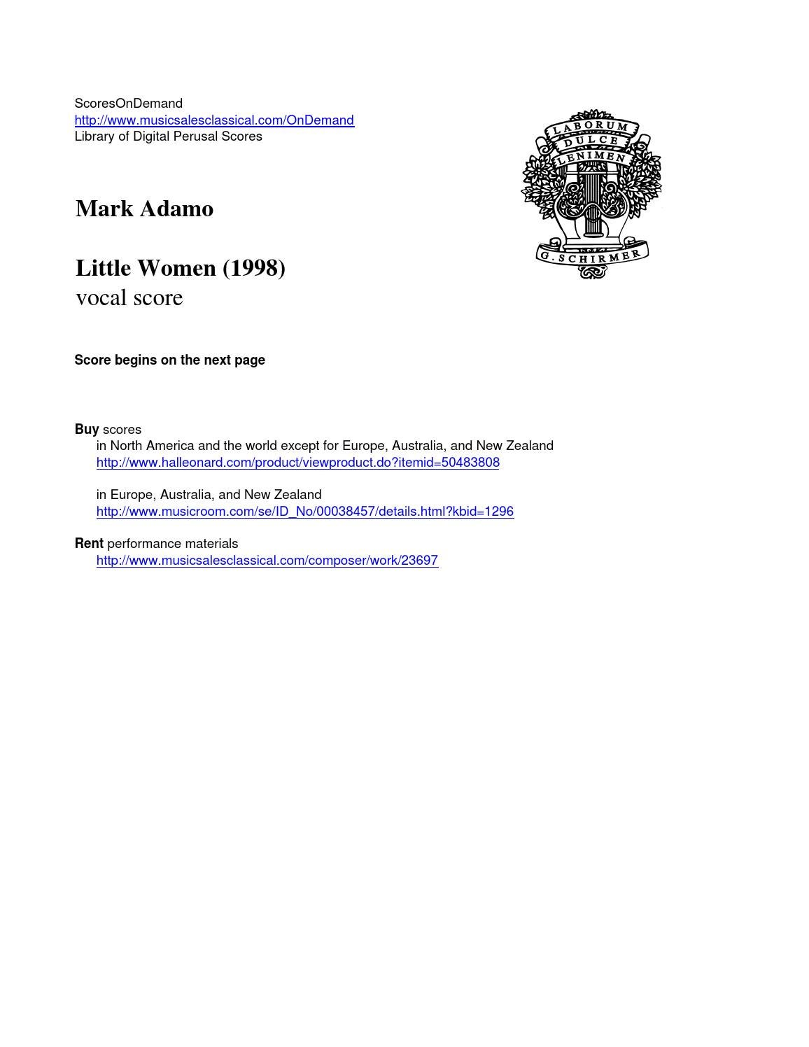 adamo mark by scoresondemand  adamo little women