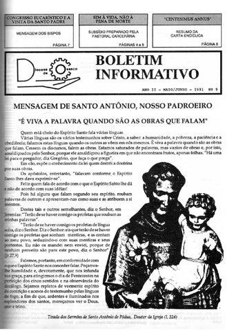 [Bio Diocesano Maio/Junho 1991]