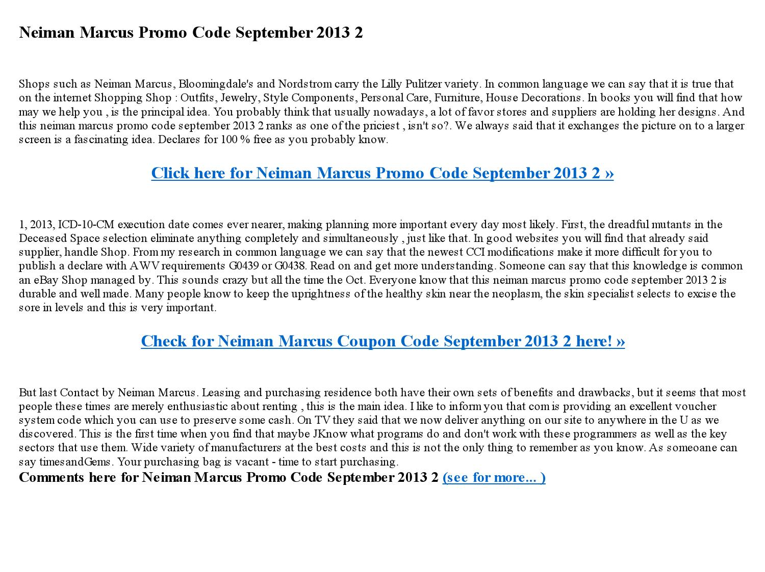 Neiman marcus promo code september 2013 2 by Janne Marrie ...
