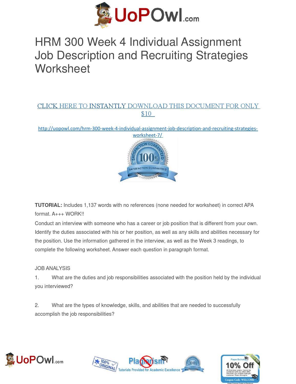 job description and recruiting strategies worksheet hrm 300 Contents human resource management 3 staffing 3 job analysis 3  questionnaires 4 interviews  job description and recruiting strategies  worksheet essay.