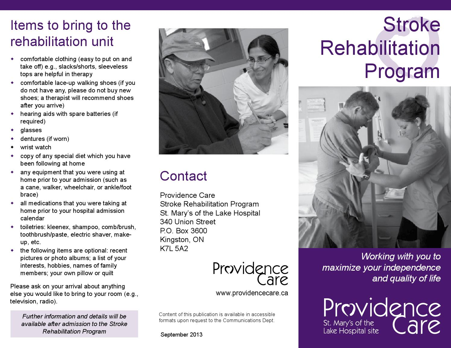 Stroke Rehab Brochure Sept 2013 By Providence Care Issuu