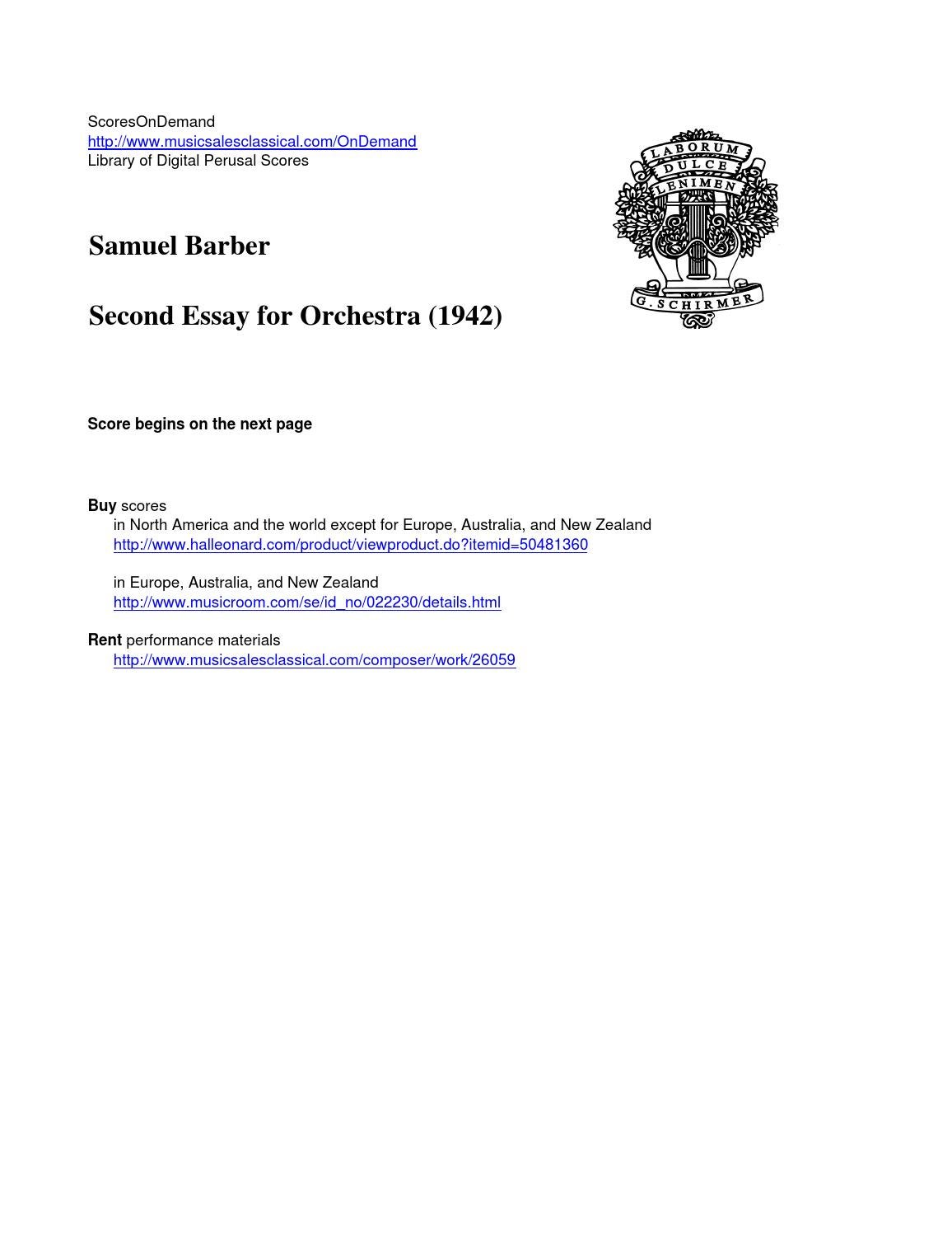 barber second essay for orchestra by scoresondemand issuu