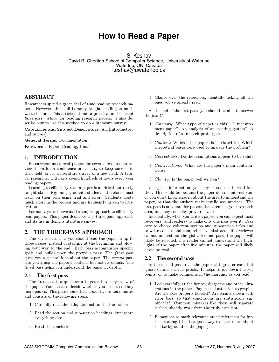 guideline to write a research paper in computer field