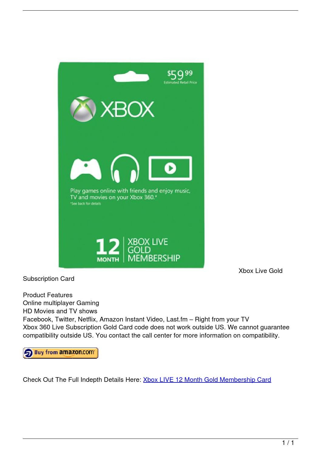 Xbox LIVE 12 Month Gold Membership Card by alarick18 - issuu
