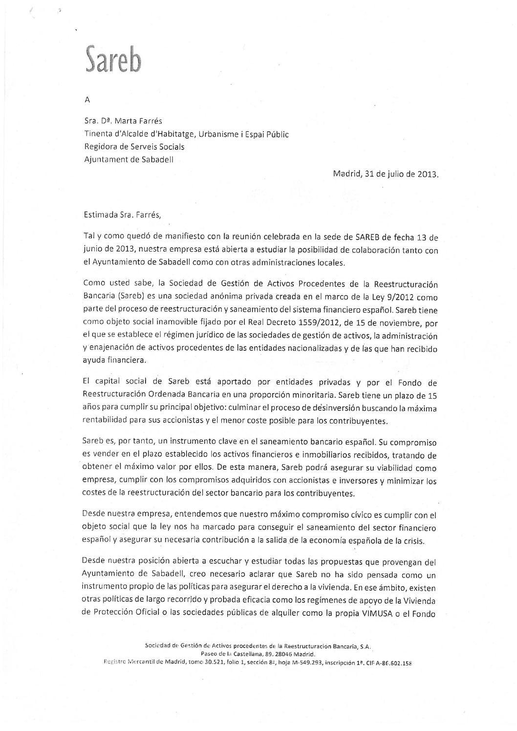 Respuesta sareb a petici n pisos pahcsabadell via ayuntamiento by pah sabadell issuu - Pisos de lloguer a sabadell ...