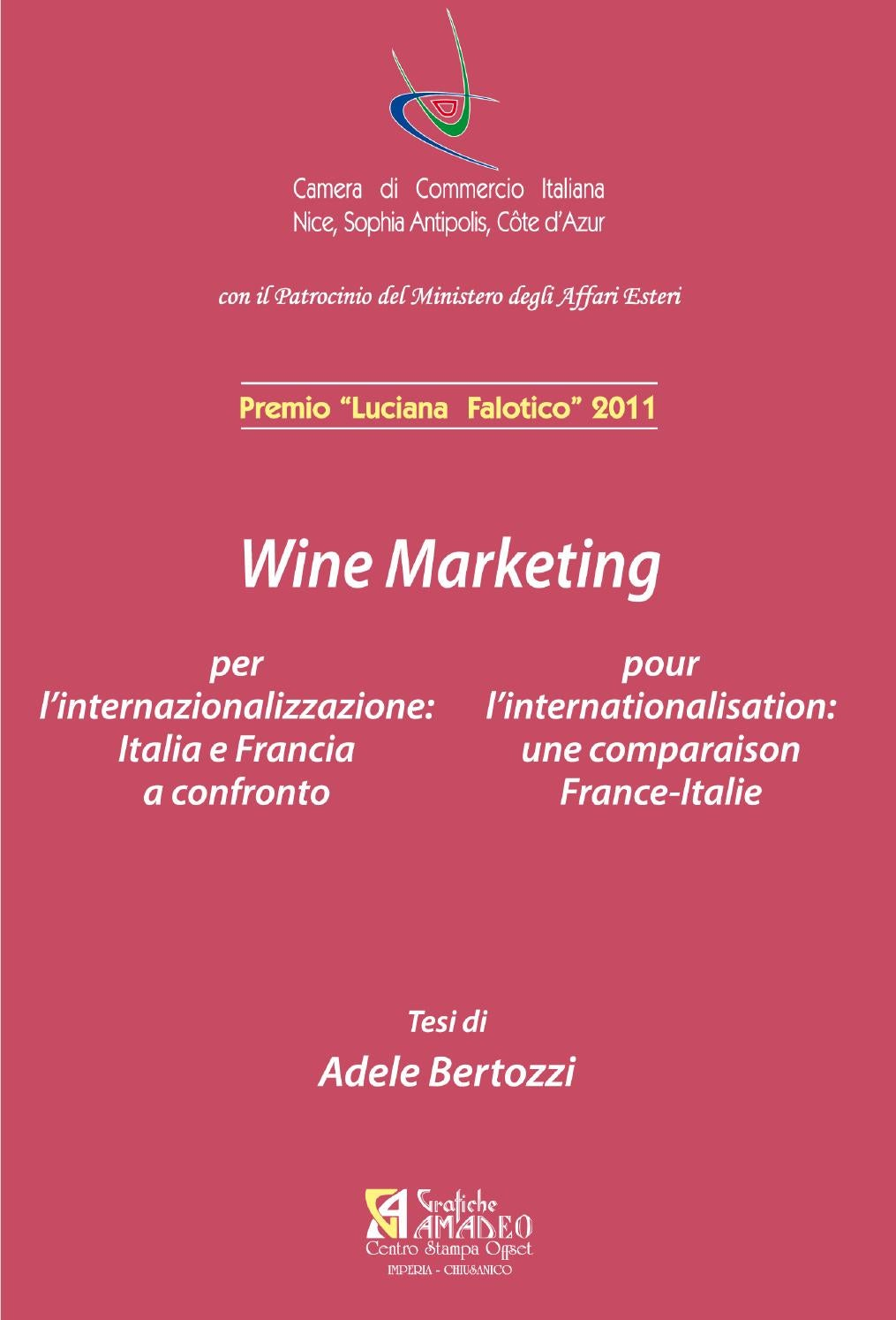 Wine marketing per l 39 internazionalizzazione italia e for Chambre de commerce tuniso italienne