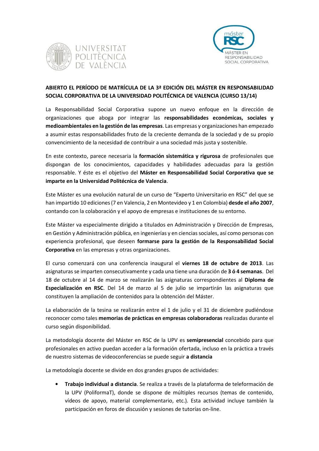 Nueva edici n del m ster en rsc de la universidad for Universidad valencia master