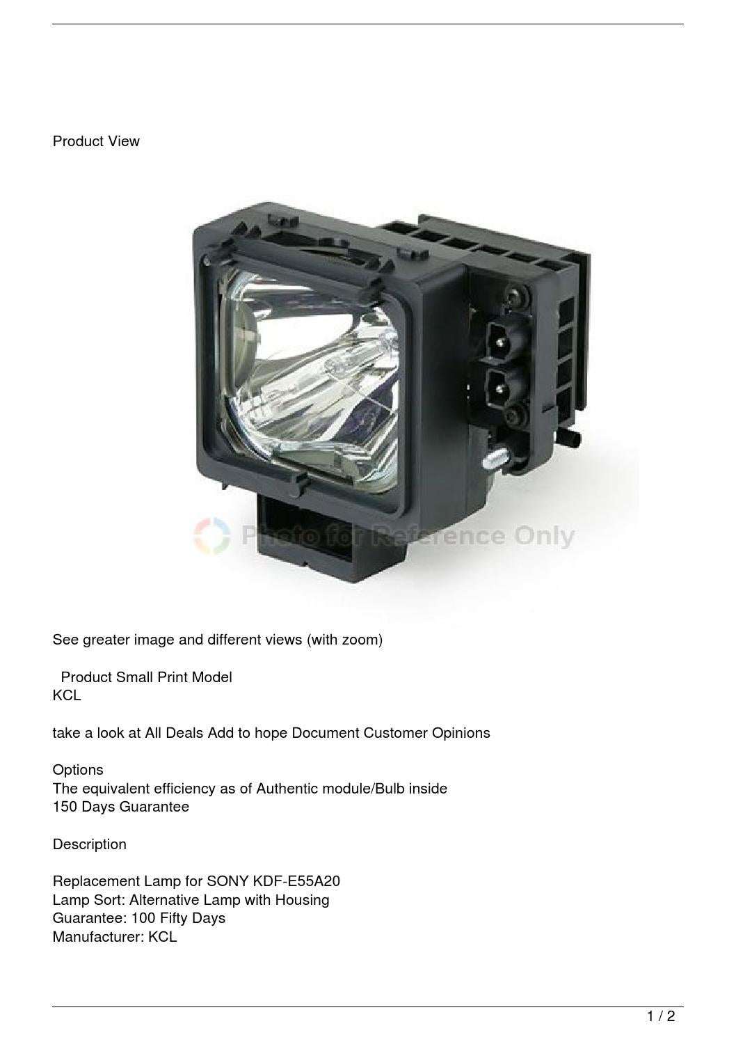 Sony Kdf E55a20 Tv Replacement Lamp With Housing By Tyrone