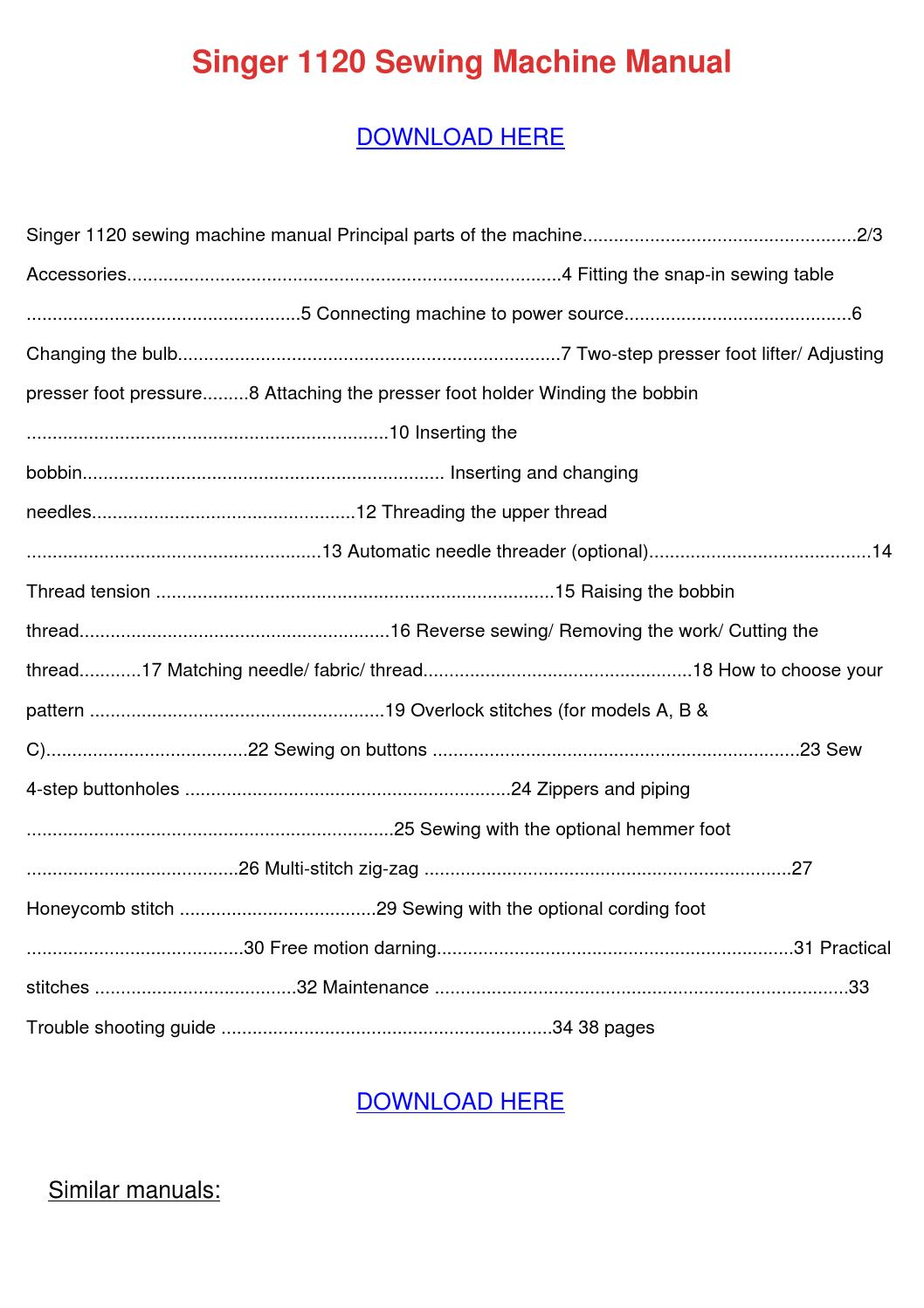 singer sewing machine manual 1120