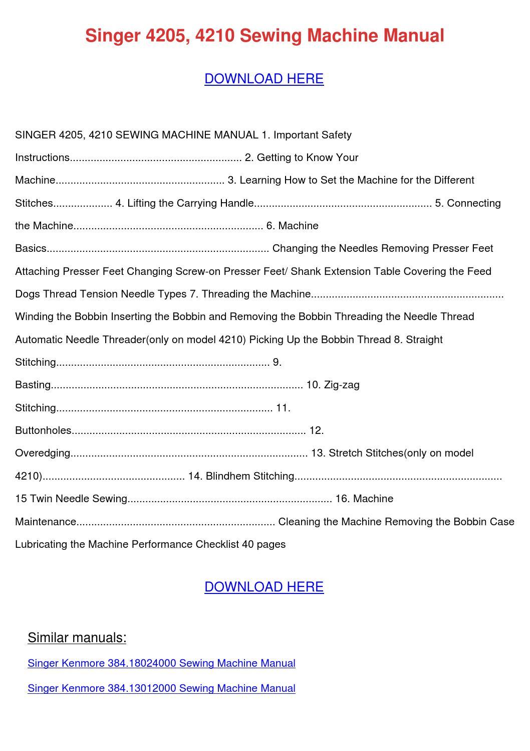 singer sewing machine 4210