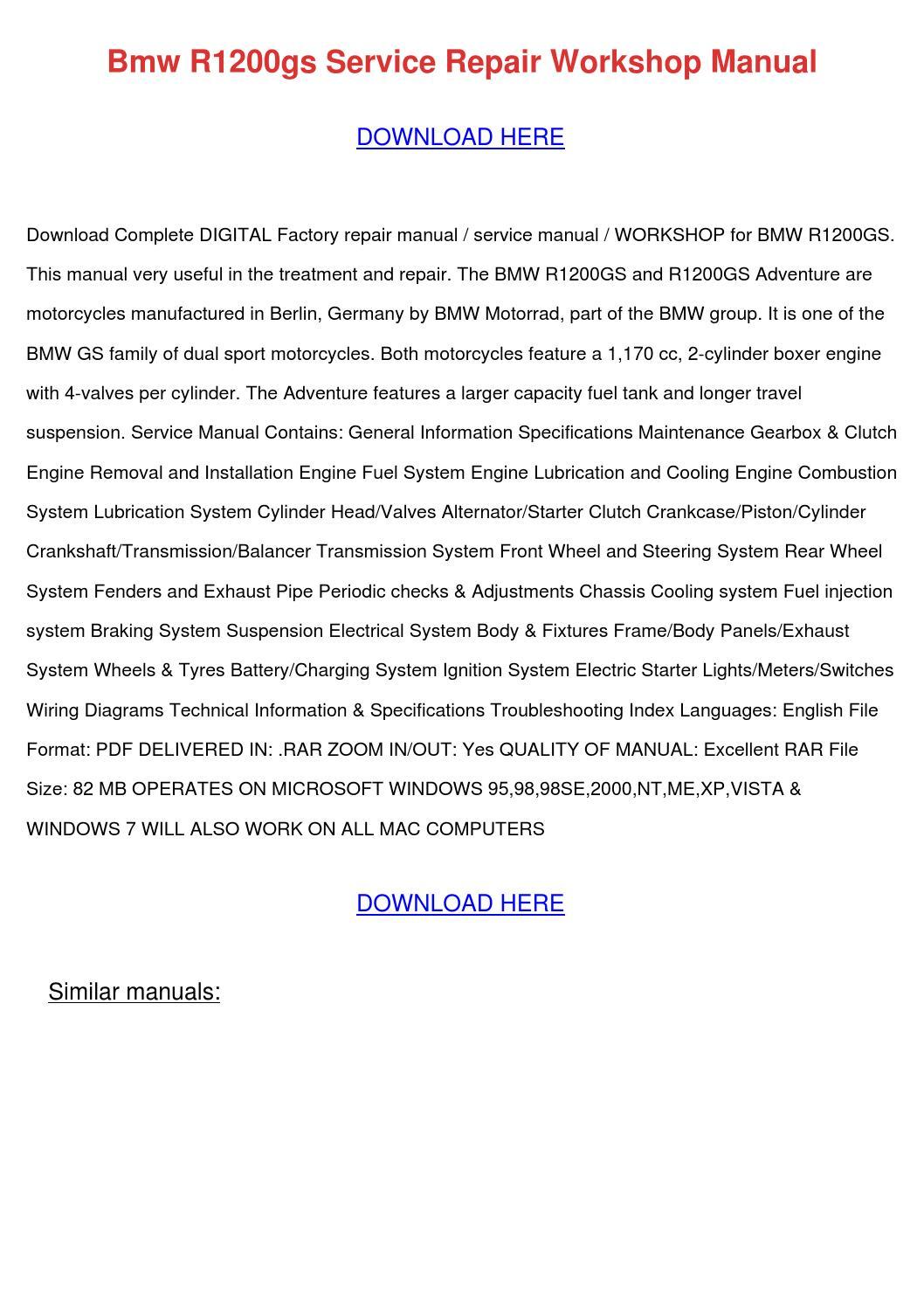 Bmw R1200gs Service Repair Workshop Manual by .