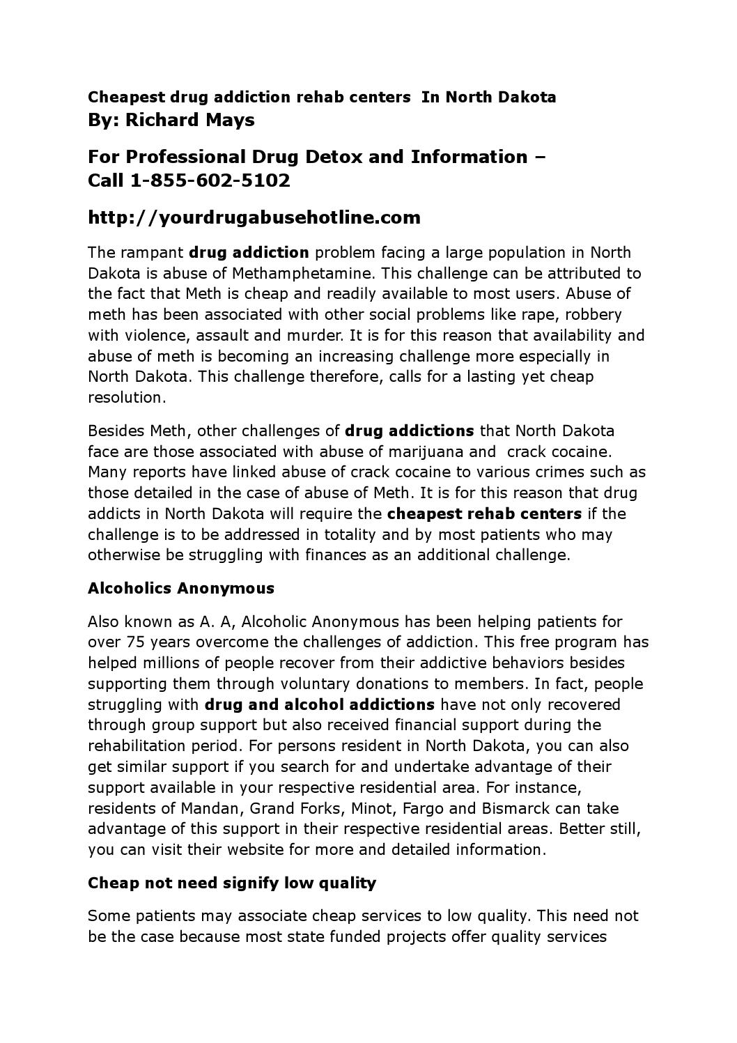Cheapest drug addiction rehab centers in north dakota by NJSS - issuu