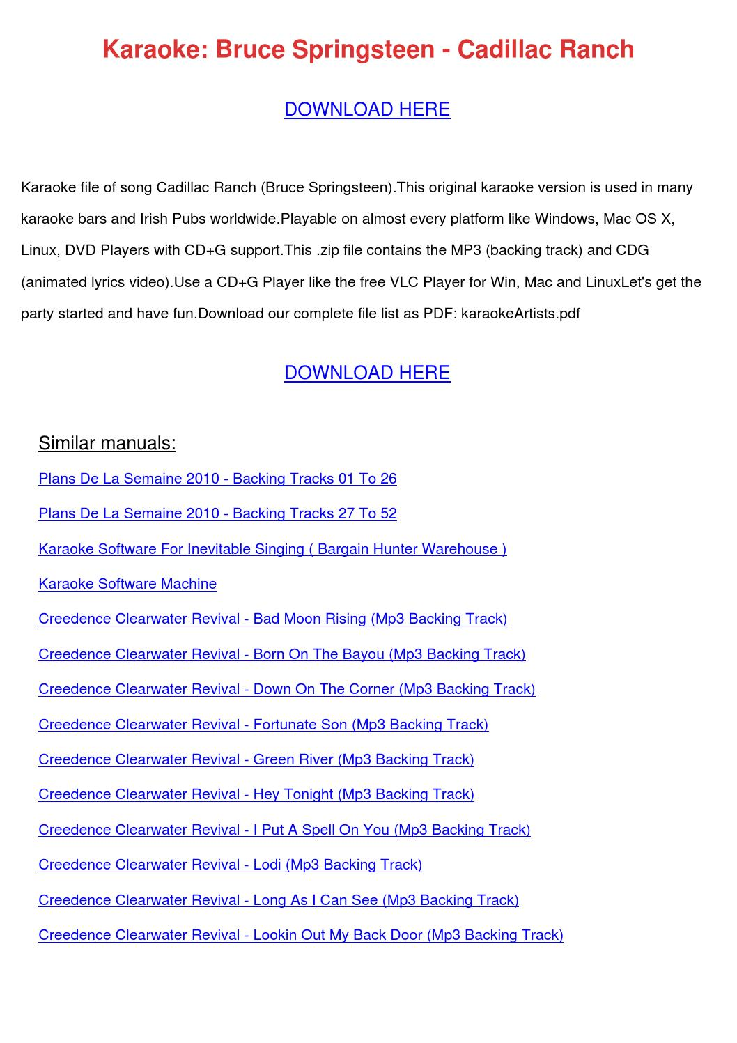 karaoke bruce springsteen cadillac ranch by frankearly issuu. Cars Review. Best American Auto & Cars Review